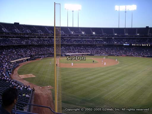 Seat view from section 202 at Oakland Coliseum, home of the Oakland Athletics