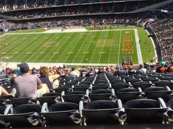 View from the 400 level grandstand at Soldier Field