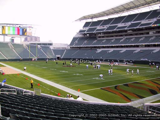 Seat view from section 131 at Paul Brown Stadium, home of the Cincinnati Bengals