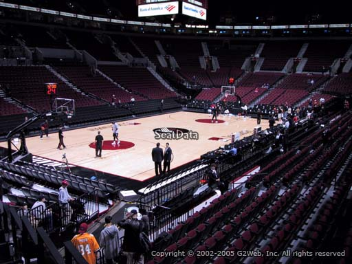 Seat view from section 104 at the Moda Center, home of the Portland Trail Blazers
