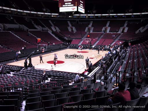 Seat view from section 105 at the Moda Center, home of the Portland Trail Blazers