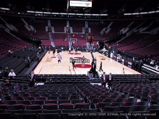 Seat view from section 107 at the Moda Center, home of the Portland Trail Blazers