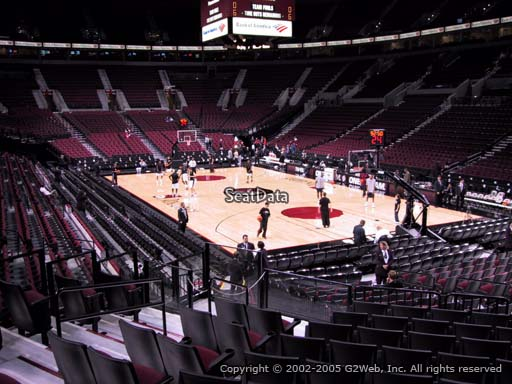 Seat view from section 109 at the Moda Center, home of the Portland Trail Blazers