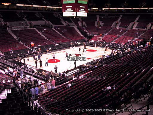 Seat view from section 205 at the Moda Center, home of the Portland Trail Blazers
