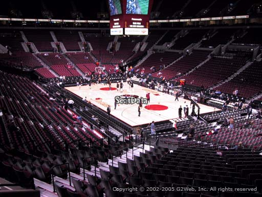 Seat view from section 211 at the Moda Center, home of the Portland Trail Blazers