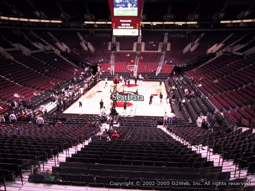 Seat view from section 223 at the Moda Center, home of the Portland Trail Blazers