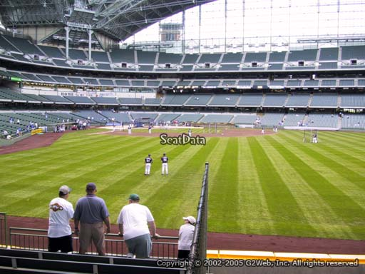 Seat view from bleacher section 102 at Miller Park, home of the Milwaukee Brewers