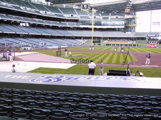 Seat view from section 113 at Miller Park, home of the Milwaukee Brewers