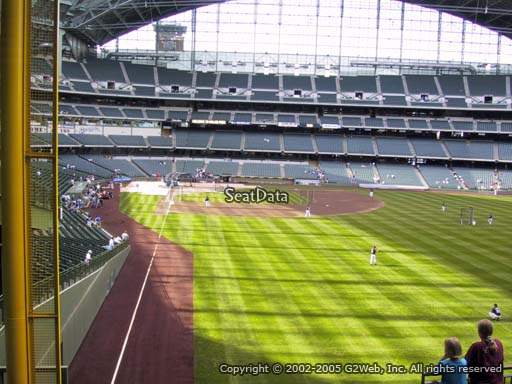 Seat view from bleacher section 205 at Miller Park, home of the Milwaukee Brewers