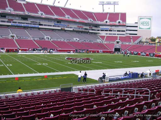Seat view from section 133 at Raymond James Stadium, home of the Tampa Bay Buccaneers