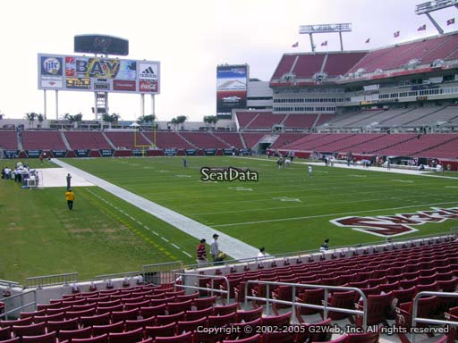 Seat view from section 145 at Raymond James Stadium, home of the Tampa Bay Buccaneers