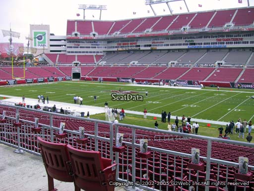 Seat view from section 214 at Raymond James Stadium, home of the Tampa Bay Buccaneers
