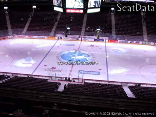 Seat view from section 307 at Rogers Arena, home of the Vancouver Canucks