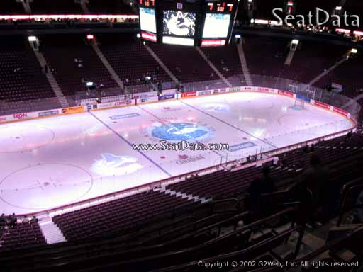 Seat view from section 310 at Rogers Arena, home of the Vancouver Canucks