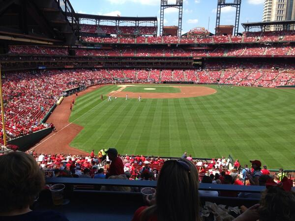 View from the Powerade Bridge at Busch Stadium