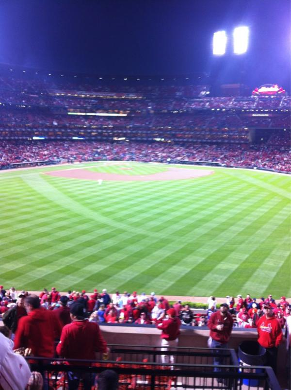 View from the Coca-Cola Scoreboard Patio at Busch Stadium