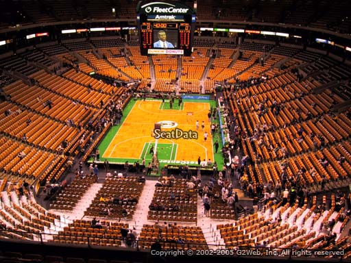 Seat view from section 308 at the TD Garden, home of the Boston Celtics.