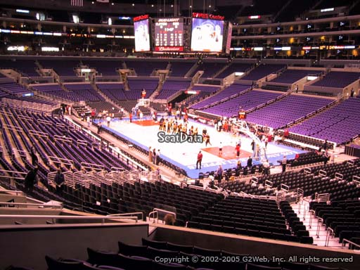 Seat view from section 210 at the Staples Center, home of the Los Angeles Lakers
