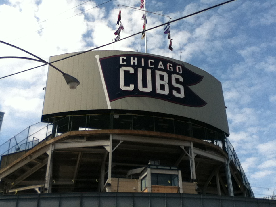 Exterior photo of Wrigley Field, home of the Chicago Cubs.