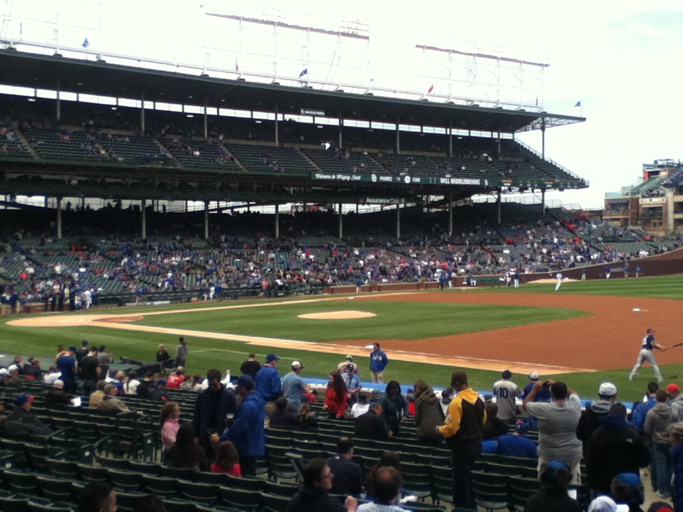 Photo of the baseball diamond at Wrigley Field from the 1st base side.