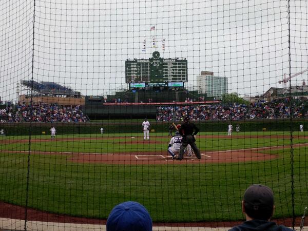 View from Dugout Box Seats at Wrigley Field