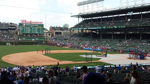 View from the Field Box Seats at Wrigley Field