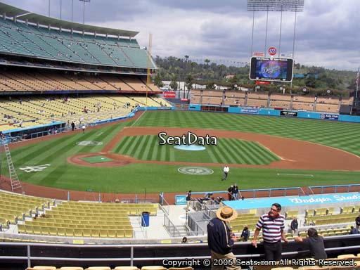 Seat view from loge box section 124 at Dodger Stadium, home of the Los Angeles Dodgers
