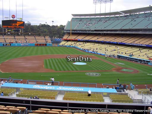 Seat view from loge box section 131 at Dodger Stadium, home of the Los Angeles Dodgers