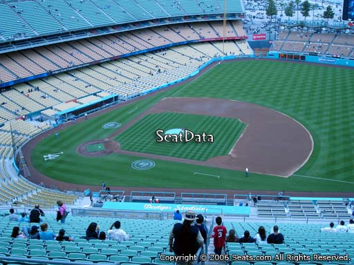 Seat view from reserve section 18 at Dodger Stadium, home of the Los Angeles Dodgers