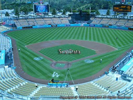Seat view from reserve section 2 at Dodger Stadium, home of the Los Angeles Dodgers