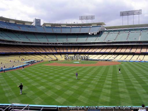 Seat view from right field pavilion section 306 at Dodger Stadium, home of the Los Angeles Dodgers