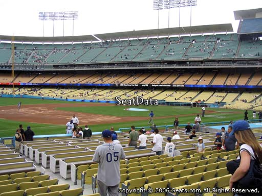 Seat view from field box section 33 at Dodger Stadium, home of the Los Angeles Dodgers