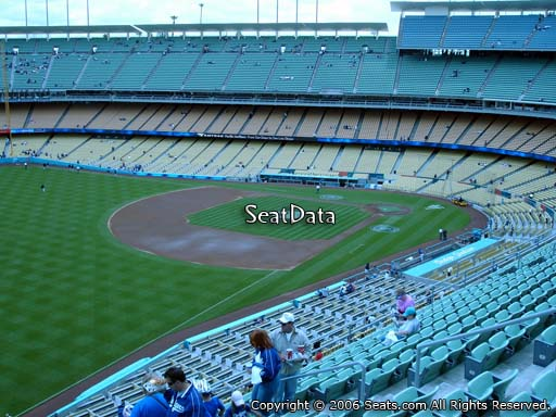 Seat view from reserve section 43 at Dodger Stadium, home of the Los Angeles Dodgers