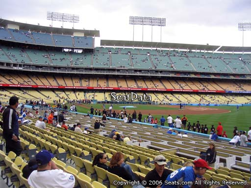 Seat view from field box section 44 at Dodger Stadium, home of the Los Angeles Dodgers
