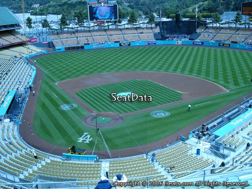 Seat view from reserve section 4 at Dodger Stadium, home of the Los Angeles Dodgers