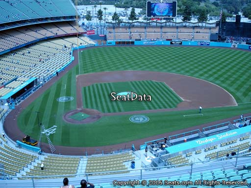 Seat view from reserve section 8 at Dodger Stadium, home of the Los Angeles Dodgers