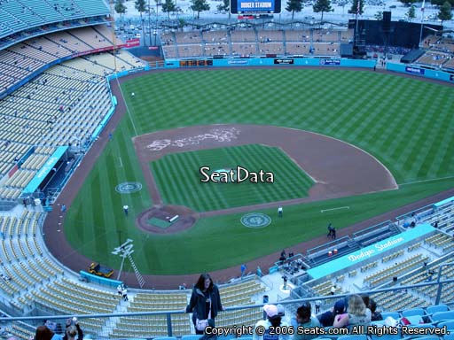 Seat view from top deck section 8 at Dodger Stadium, home of the Los Angeles Dodgers