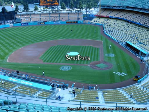Seat view from reserve section 9 at Dodger Stadium, home of the Los Angeles Dodgers