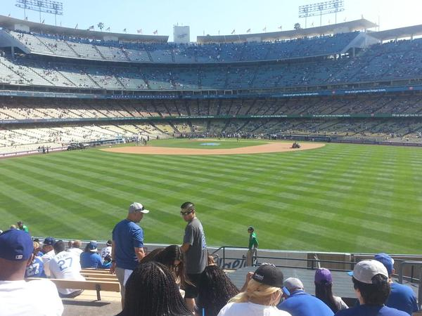 View from the All you can eat Pavilion Bleacher Seats at Dodger Stadium