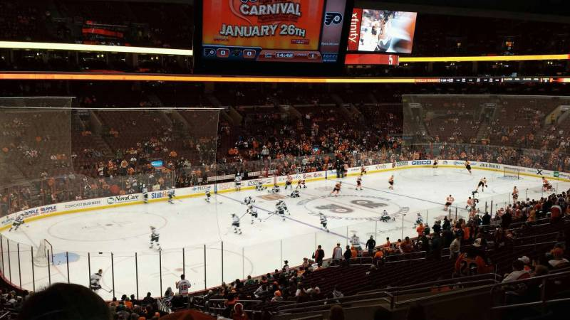 Seat view from Club Box 10 at the Wells Fargo Center, home of the Philadelphia Flyers
