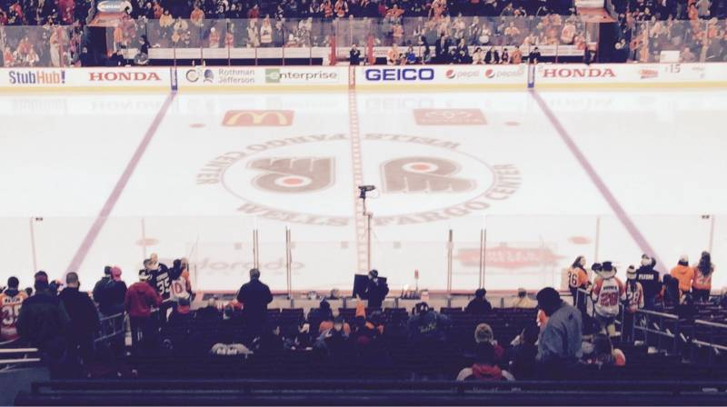 Seat view from Club Box 13 at the Wells Fargo Center, home of the Philadelphia Flyers