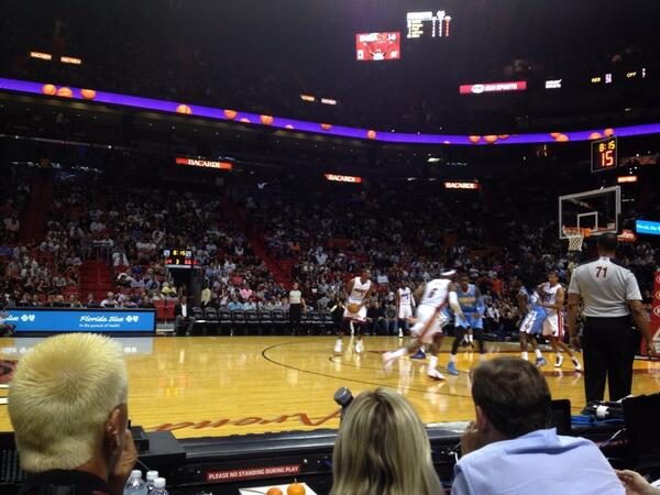 Seat View from the Courtside North Seats at American Airlines Arena, home of the Miami Heat