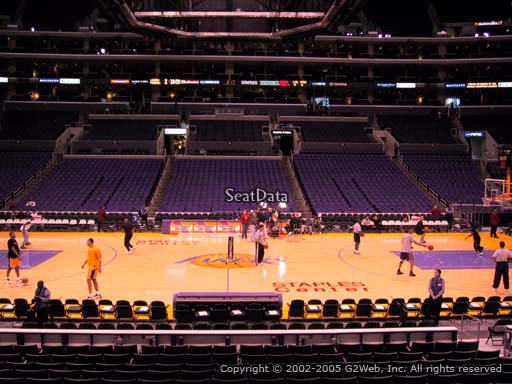 Seat view from section 111 at the Staples Center, home of the Los Angeles Lakers