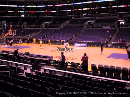 Seat view from section 119 at the Staples Center, home of the Los Angeles Lakers