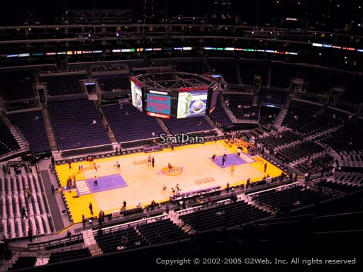 Seat view from section 303 at the Staples Center, home of the Los Angeles Lakers
