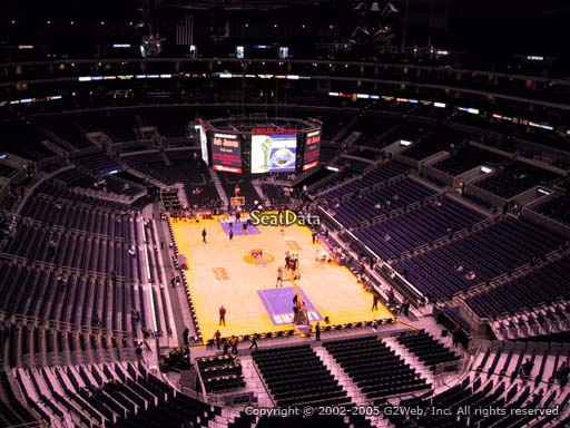 Seat view from section 311 at the Staples Center, home of the Los Angeles Lakers