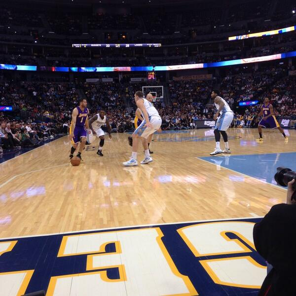 View from the Courtside Seats at the Pepsi Center during a Denver Nuggets game