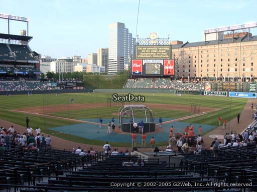 Seat view from section 43 at Oriole Park at Camden Yards, home of the Baltimore Orioles