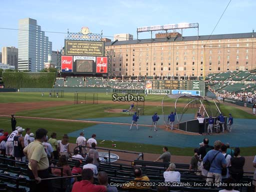 Seat view from section 44 at Oriole Park at Camden Yards, home of the Baltimore Orioles