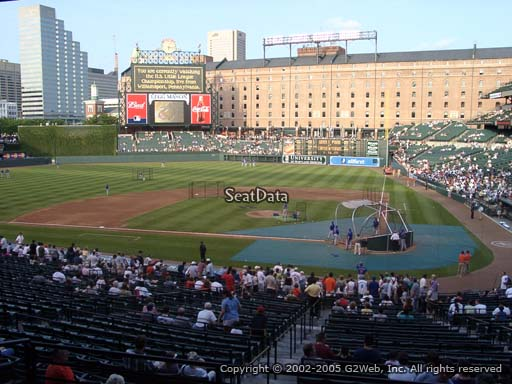 Seat view from section 49 at Oriole Park at Camden Yards, home of the Baltimore Orioles